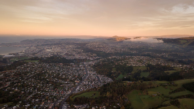 Dunedin City Sunrise view from Drone