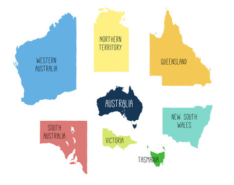 Vector map of Australia with separated territories. Colorful sketch illustration