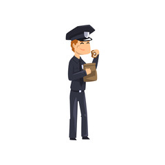 Police officer eating donut, policeman cartoon character vector Illustration on a white background
