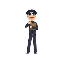 Smiling police officer in blue uniform eating donut, policeman cartoon character vector Illustration on a white background