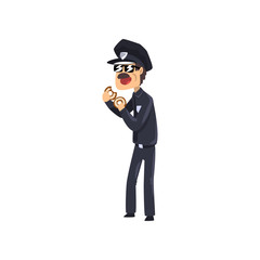 Police officer in blue uniform and sunglasses eating donut, policeman cartoon character vector Illustration on a white background