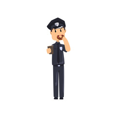 Police officer in blue uniform standing and holding cup of coffee and donut, policeman cartoon character vector Illustration on a white background