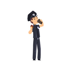 Police officer in blue uniform drinking coffee and eating donut, policeman cartoon character vector isolated on a white background