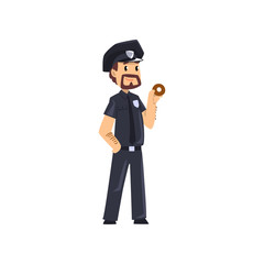 Police officer standing with donut, policeman cartoon character vector Illustration on a white background