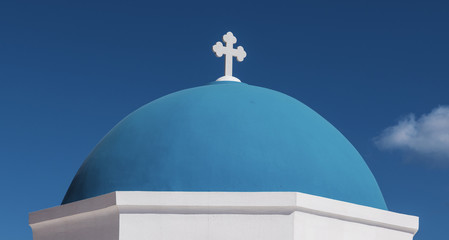 Iconic Blue Church Dome of Santorini