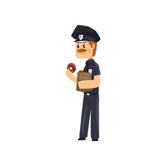 Cheerful police officer in blue uniform eating glazed donut, policeman cartoon character vector Illustration on a white background