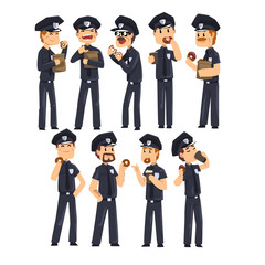 Police officers in blue uniform drinking coffee and eating donuts, policemen cartoon characters set vector Illustration