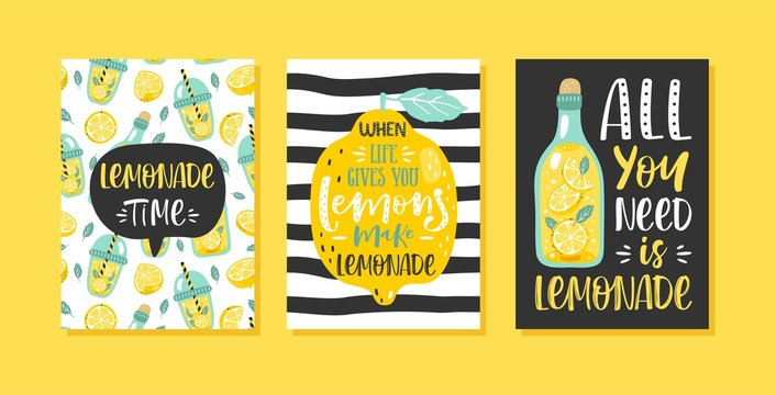 Set of 3 hand drawn cards. Motivation poster with modern calligraphy, lemons, lemonade and handwritten lettering.