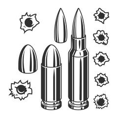 Vintage bullets and bullet holes set