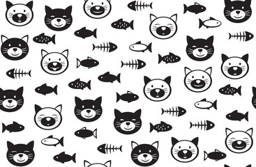 Vector  funny cats   and fishes seamless pattern, black and white  silhouettes, isolated on white.