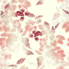 imprints flowering plum mix repeat seamless pattern. watercolour and digital hand drawn picture. mixed media artwork.