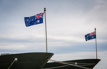 Australian flags on ship
