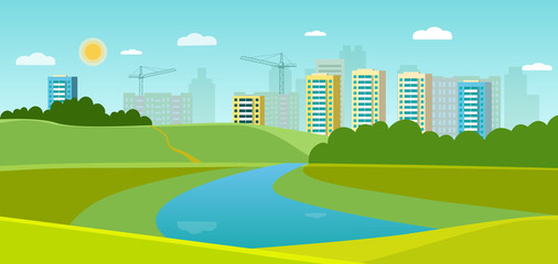 Summer landscape with forest and river. Cityscape panoramic. Vector flat style illustration