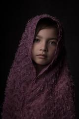 Studio portrait of girl wearing headscarf