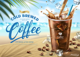 Cold brewed coffee ads Wall mural