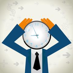 Time concept design, clock on the businessman's head.