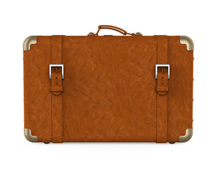 Vintage Leather Suitcase Isolated