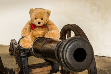 Teddy bear Dranik on the old cannon