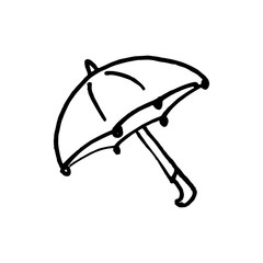 Handdrawn umbrella doodle icon. Hand drawn black sketch. Sign cartoon symbol. Decoration element. White background. Isolated. Flat design. Vector illustration