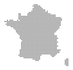 Pixel map of France. Vector dotted map of France isolated on white background. Abstract computer graphic of France map. vector illustration.