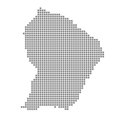 Pixel map of French Guiana. Vector dotted map of French Guiana isolated on white background. Abstract computer graphic of French Guiana map. vector illustration.