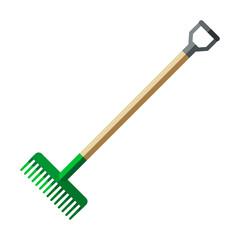 Garden rake, forks vector icon, flat style.