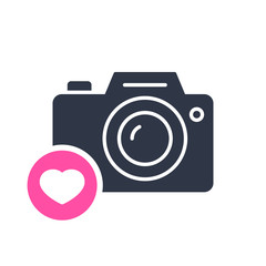 Photo camera icon, technology icon with heart sign. Photo camera icon and favorite, like, love, care symbol