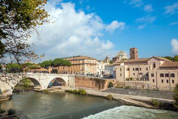 Rome, Italy. Morning panoramic view to the Ponte Fabricio and Tiber Island.