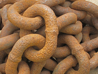 Ancient rusty anchor chain