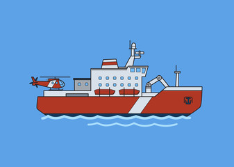 Icebreaker ship in the sea. Flat vector illustration. Isolated on blue background.