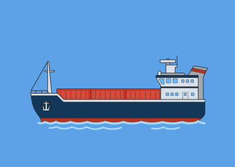 Cargo freighter boat. Flat vector illustration. Isolated on blue background