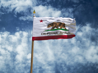 California flag USA flag Silk waving flag made transparent fabric of California US state with wooden flagpole gold spear on background blue sky white smoke clouds real retro photo 3d illustration
