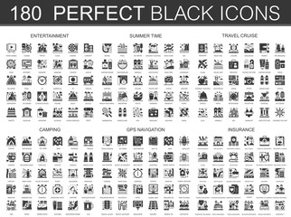 180 entertainment, summer time, travel cruise, camping, gps navigation and insurance classic black mini concept symbols. Vector modern icon pictogram illustrations set.