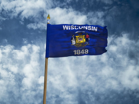 Wisconsin flag USA flag Silk waving flag made transparent fabric of Wisconsin US state with wooden flagpole gold spear on background sunny blue sky white smoke clouds real retro photo 3d illustration