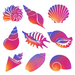 Vector fresh modern gradient sea shells and pearl seashell silhouettes isolated on white background.