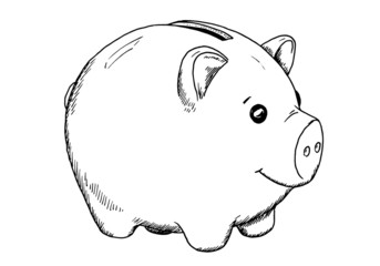 Drawing of piggy bank - hand sketch of animal - money storage, black and white illustration