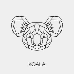 Abstract polygonal head of a koala. Geometric linear australian animal. Vector.