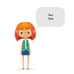 Sad or upset redhead teenage girl scout wearing vest with colorful badges and patches and speech balloon with place for text isolated on white background. Female scouter, member of troop, speaker.