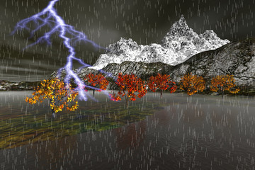 Storm, a winter landscape, rain and lightning, trees with red and yellow leaves and snowy mountain in the background.