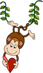 Hanging monkey holding a red heart