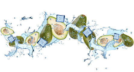 Water splash with avocado isolated on white background. Splash with vegetable.