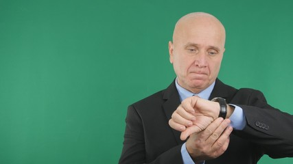 Upset Businessman Checking Hand Watch Waiting a Late Meeting