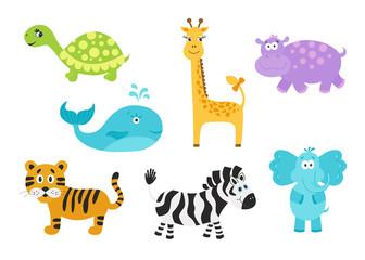 Giraffe,  elephant, hippo, turtle; tiger; zebra; whale for baby goods.