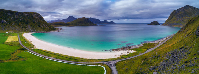 Wall Mural - Haukland beach on Lofoten islands in Norway