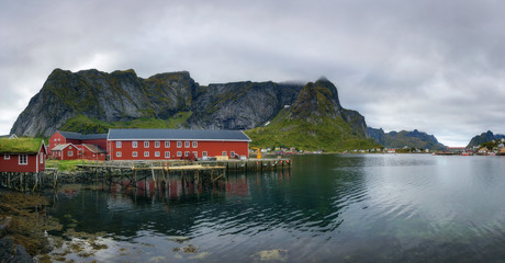 Wall Mural - Panorama of Reine fishing village on Lofoten islands in Norway