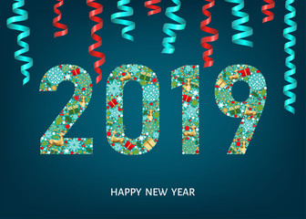2019 Happy New Year greeting card on blue background.