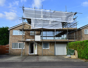 Scaffolding on a property in the UK