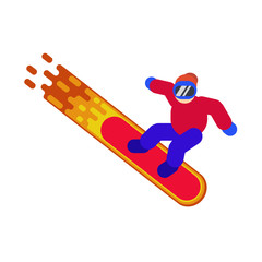 Man riding a snowboard on a white background