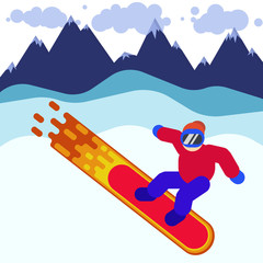 A man on a burning snowboard in the mountains