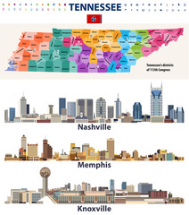 Fototapete - vector congressional districts map and major cities abstract skylines of Tennessee state